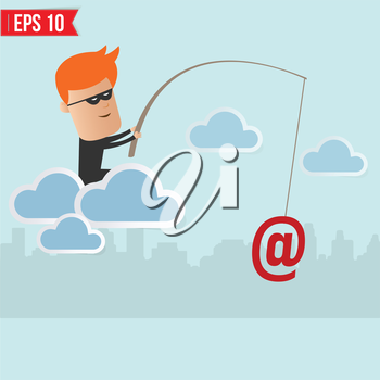 Hacker steal data on cloud computing for phishing concept