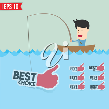 Cartoon businessman catching best tag  in the sea - Vector illustration - EPS10