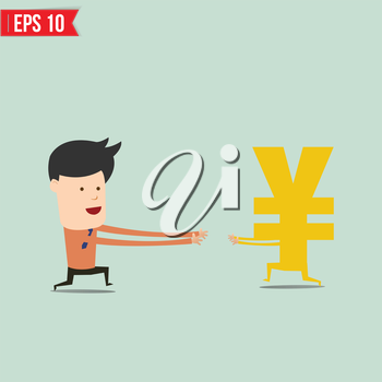 Business man trying to catch money  - Vector illustration - EPS10