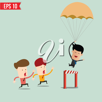 Business Man jumping over an obstacle on the way to succes - Vector illustration - EPS10