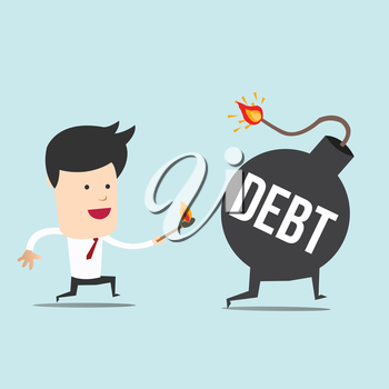 Business man and spark DEBT bomb