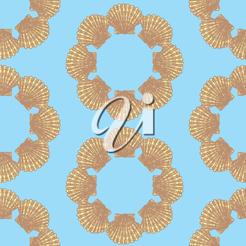Sketch sea shell in vintage style, vector seamless pattern