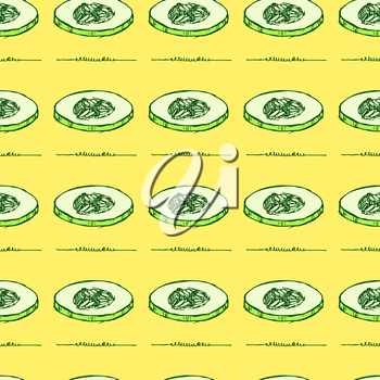 Sketch sliced cucumber in vintage style, vector seamless pattern
