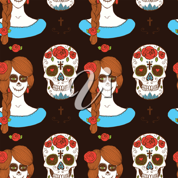 Sketch mexican skull and girl in vintage style, vector seamless pattern