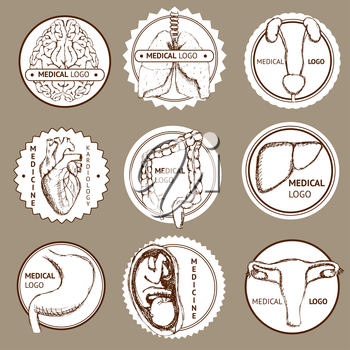 Sketch set of medical logotypes in vintage style, vector