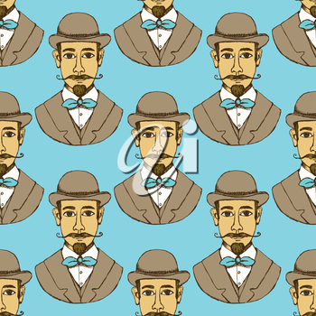 Sketch man in hat, vintage style, vector seamless pattern