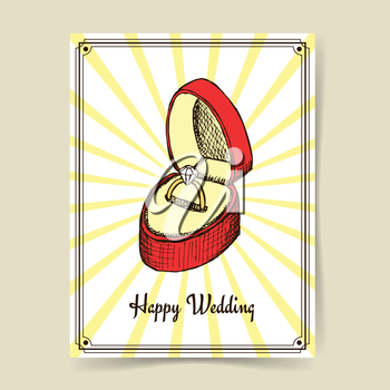 Sketch wedding ring in box in vintage style, vector