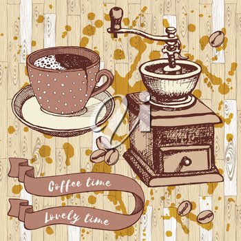 Coffee set with coffee mill and broken cup in vintage style, vector