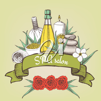 Spa salon poster with ribbon in vintage style, vector