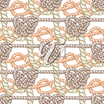 Knot in shape of heart in engravinng style, vector seamless pattern