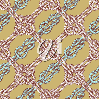 Engraved diagonal sailor knot in vintage style, vector seamless pattern