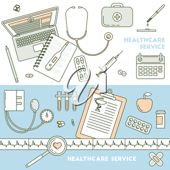 Health services, online doctor support. Medical working table, top view. Health care banners