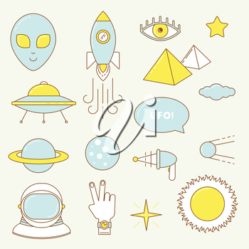 Alien set of icons. Line design UFO, astronaut, planets sticker patches