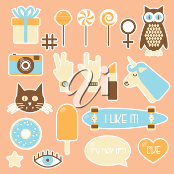 Sticker fashion badges, illustration set with owl, cat, lollipop, photo camera, hands, unicorn, lipstick, longboard, ice-cream, doughnut, eye, bubble and heart.