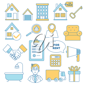 Real estate icons, line design. Garage, location, furniture, search and promotion colorful logotypes