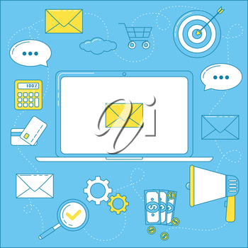 Email marketing illustration. Letters that bring sales, promoting campaign