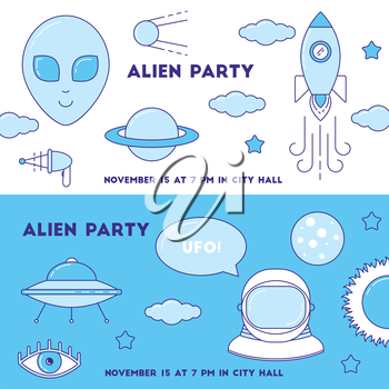 Alien set of banners. Line design UFO, astronaut, planets party invitation