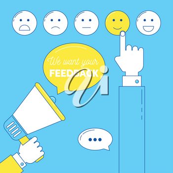 Feedback emoticon scale. We need your feedback illustration with hands and loudspeaker