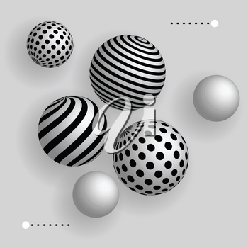 Abstract 3d balls floating in the air, vector realistic background