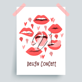 Sexy lips with tongue, red lipstick concept