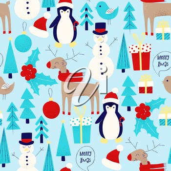 Christmas card with snowman, penguin and deer seamless pattern