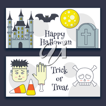 Halloween banner with castle, zombie, skull and tombstone