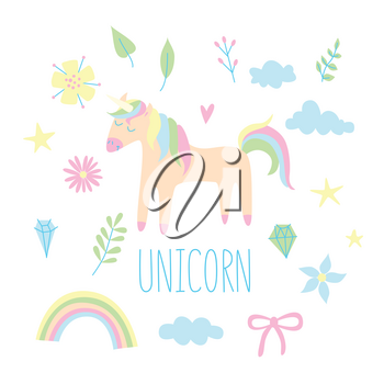 Unicorn set with flowers and clouds and rainbow