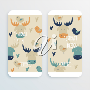 Moose, vector cell phone mochup with hearts and birds