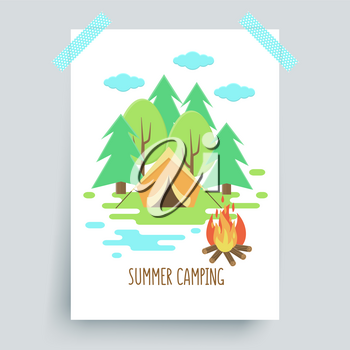 Camping fire poster, vector colorful background with tent