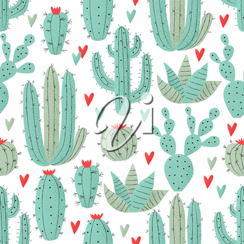 Cactus seamless pattern, cute home plants concept