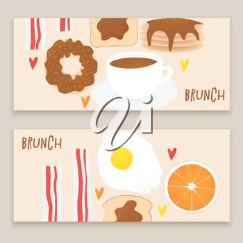 Breakfast vector concept, brunch illustration with donut