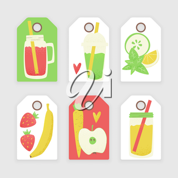 Vegan set of tags, vector colorful concept, detox ad