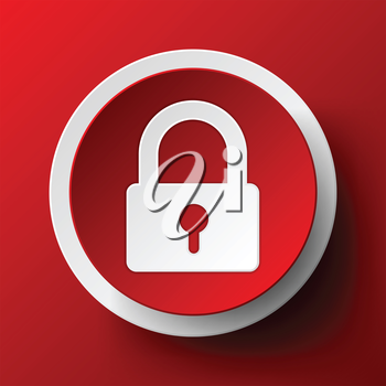 Padlock icon on red background. Vector illustration