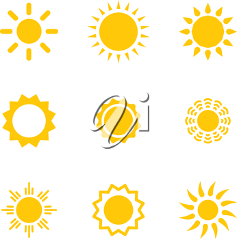 Set of vector suns. Suns collection. Isolated objects on white background.