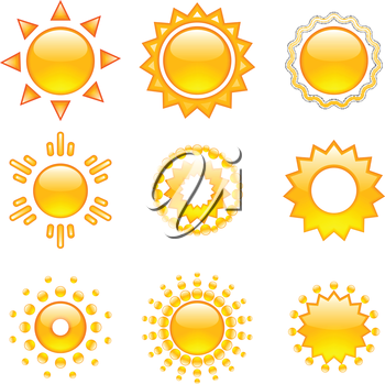 Set of emoji vector suns. Suns collection. Isolated objects on white background.