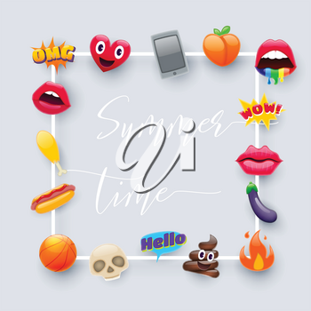 Set of Fantastic Summer Time Smiley Emoticons, Emoji Design Set. Bright Icons of Lips. Fire, Hello Expression, Cellphone, Eggplant, Peach, Hot Dog, Chicken Leg, Skulls. Stickers and Patches