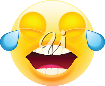 Face With Tears of Joy. Laughing Crying Face. Happy Emoticon. LOL. Laughing Tears Emoticon. Smile icon. Isolated Vector Illustration on White Background