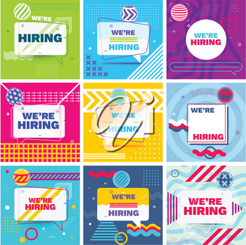 We are Hiring Template, Banner Design or Poster. Set of Job Vacancy Advertisement Concepts in Memphis Style.