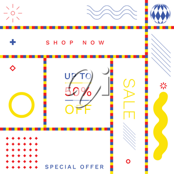 Modern Promotion Square Web Banners for Social Media Mobile Apps. Elegant Sale and Discount Promo Backgrounds with Abstract Pattern in de Stijl Style. Email Ad Newsletter Layout.
