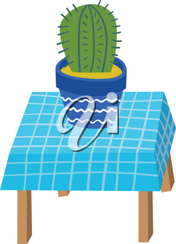 Vector Bright Cactus on a Table. Exotic Plant in Hand Drawn Childish Style. Decorative Natural Elements. Cactus in a Pot. Table with a Tablecloth.