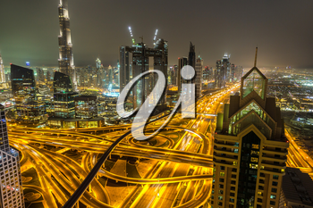 Panorama of downtown Dubai at night, United Arab Emirates
