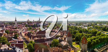 Aerial View of Tallinn Old Town and Toompea Hill in a beautiful summer day, Estonia