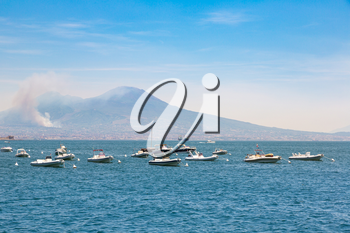 Napoli (Naples) and volcano Vesuvius in the background in a beautiful summer day, Italy