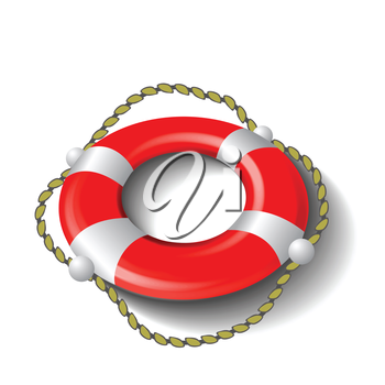 colorful illustration with red lifebuoy  for your design