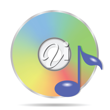 colorful illustration with compact disc icon on a white background for your design