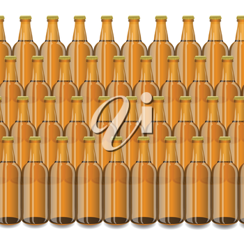 colorful illustration with Glass Beer Brown Bottle on a white background