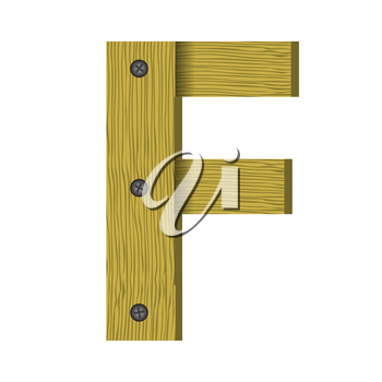 colorful illustration with wood letter F   on a white background