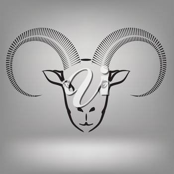 illustration with symbol of goat on a grey background