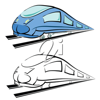 colorful illustration  with modern train silhouette on white background