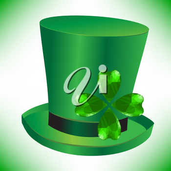 Four- leaf clover - Irish shamrock St Patrick's Day symbol. Useful for your design. Green glass clover  on green hut. St. Patrick's day green hat isolated on white background.